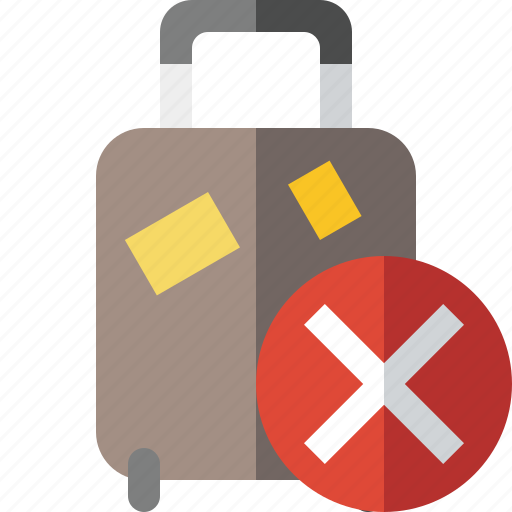bag, baggage, cancel, luggage, suitcase, travel, vacation icon