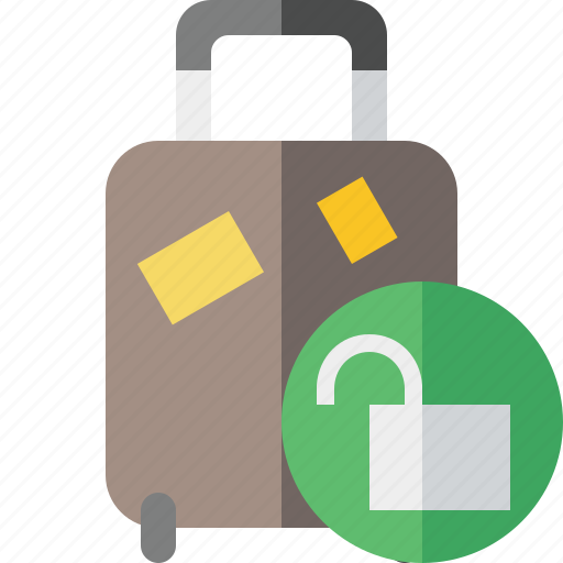 bag, baggage, luggage, suitcase, travel, unlock, vacation icon
