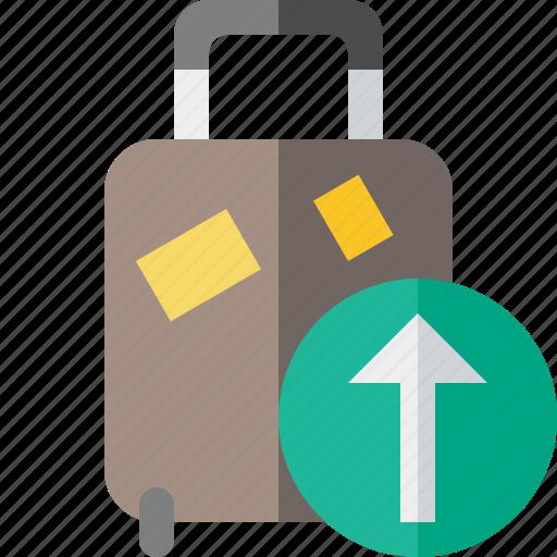bag, baggage, luggage, suitcase, travel, upload, vacation icon
