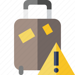 bag, baggage, luggage, suitcase, travel, vacation, warning icon