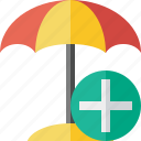 add, beach, summer, sun, travel, umbrella, vacation icon