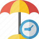 beach, clock, summer, sun, travel, umbrella, vacation icon