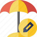 beach, edit, summer, sun, travel, umbrella, vacation icon