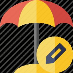 beach, edit, summer, sun, travel, umbrella, vacation icon