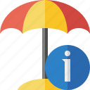 beach, information, summer, sun, travel, umbrella, vacation icon