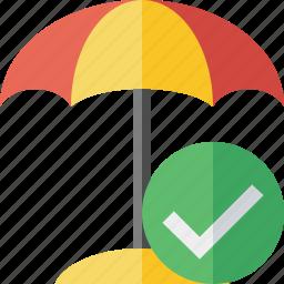 beach, ok, summer, sun, travel, umbrella, vacation icon