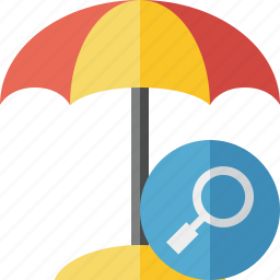 beach, search, summer, sun, travel, umbrella, vacation icon