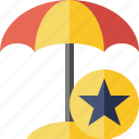 beach, star, summer, sun, travel, umbrella, vacation icon