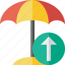 beach, summer, sun, travel, umbrella, upload, vacation icon