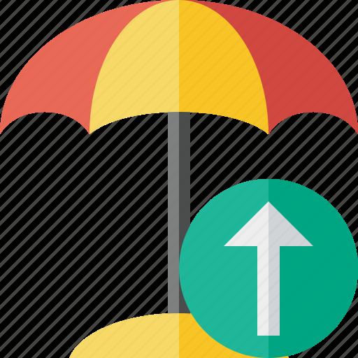 Beach, summer, sun, travel, umbrella, upload, vacation icon - Download on Iconfinder
