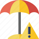 beach, summer, sun, travel, umbrella, vacation, warning icon