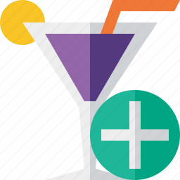 add, alcohol, beverage, cocktail, drink, glass, vacation icon