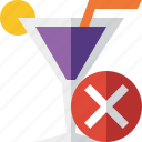 alcohol, beverage, cancel, cocktail, drink, glass, vacation icon