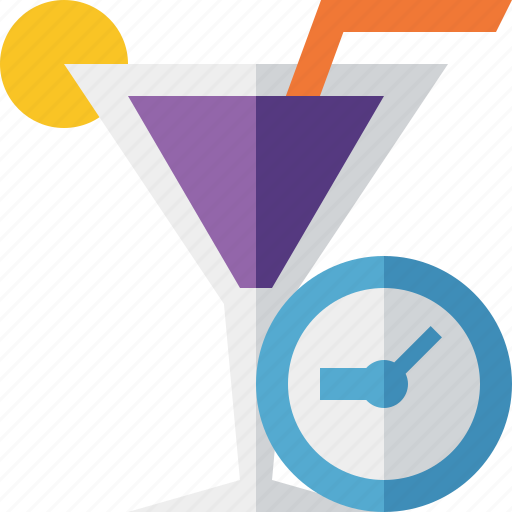 alcohol, beverage, clock, cocktail, drink, glass, vacation icon