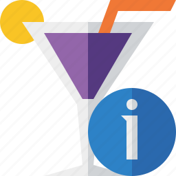 alcohol, beverage, cocktail, drink, glass, information, vacation icon