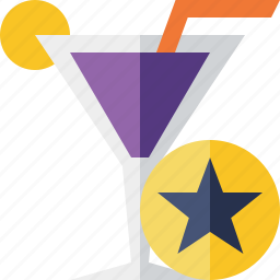 alcohol, beverage, cocktail, drink, glass, star, vacation icon