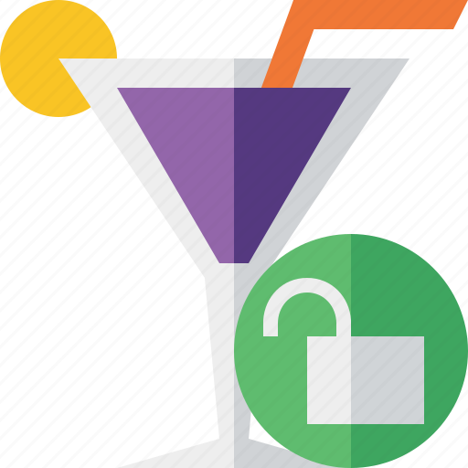 alcohol, beverage, cocktail, drink, glass, unlock, vacation icon