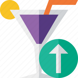 alcohol, beverage, cocktail, drink, glass, upload, vacation icon