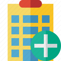add, building, city, hotel, office, travel, vacation icon
