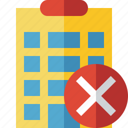 building, cancel, city, hotel, office, travel, vacation icon