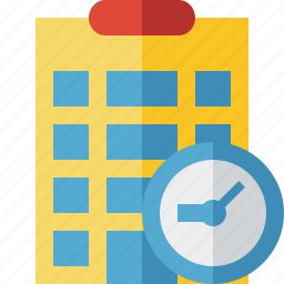 building, city, clock, hotel, office, travel, vacation icon