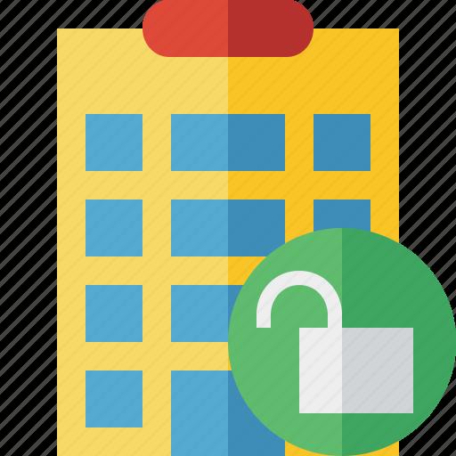 building, city, hotel, office, travel, unlock, vacation icon