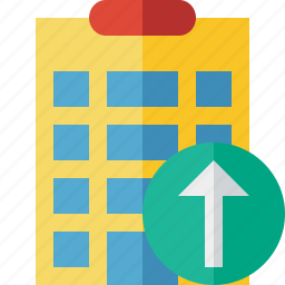 building, city, hotel, office, travel, upload, vacation icon