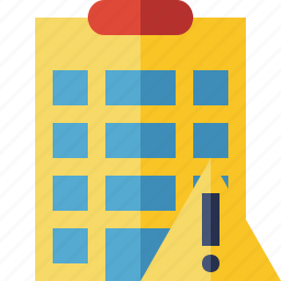 building, city, hotel, office, travel, vacation, warning icon