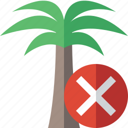 cancel, palmtree, travel, tree, tropical, vacation icon