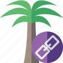 link, palmtree, travel, tree, tropical, vacation icon
