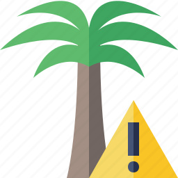 palmtree, travel, tree, tropical, vacation, warning icon