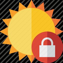 lock, summer, sun, sunny, travel, vacation, weather icon