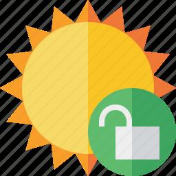 summer, sun, sunny, travel, unlock, vacation, weather icon