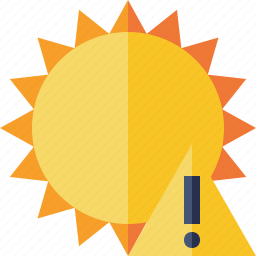 summer, sun, sunny, travel, vacation, warning, weather icon