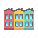 architecture, building, city, home, house, property, townhouse icon