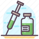 hypodermic, hypodermic needle, injection, medical syringe, syringe, vaccination icon