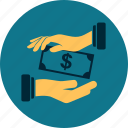 business, dollar, hand, money, payment, profit, receivable icon