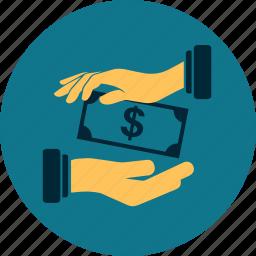 business, dollar, hand, money, payment, profit, receivable icon