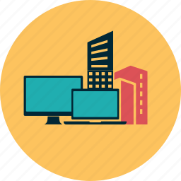 bank, building, city, computer, information, internet, network icon