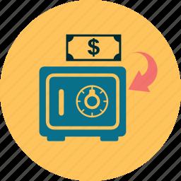 company, dollar, finance, guardar, money, safe, save, trissor icon