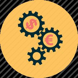 business, capital, dollar, euro, mechanic, money, working icon