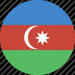 azerbaijan, circle, flag icon