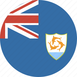 anguilla, circle, circular, flag, round icon