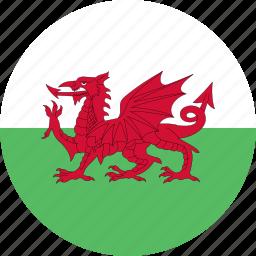 circle, flag, wales icon