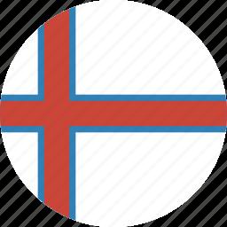 circle, circular, faroe, flag, islands, round, the icon