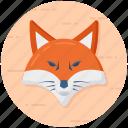 animal, creature, fox, fox face, fox head icon