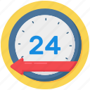 24hr services, 2hr support, clock, quick, timely service icon