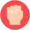 clenched hand, fist, grasp, grip, palm icon