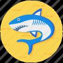 aquatic creature, fish, sea creature, seafood, shark, specie icon
