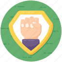 clenched hand, fist, grasp, grip, motivation, palm icon